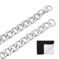 8.6mm High-Polished Stainless Steel Flat Cuban Link Curb Chain Necklace