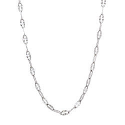 2mm High-Polished Stainless Steel Cable Fancy Link Chain Necklace