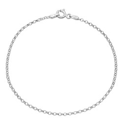 1.7mm Solid .925 Sterling Silver Round Rolo Chain Bracelet