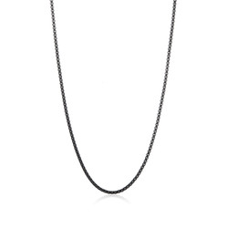 3.2mm 0.16 mils (4 microns) Black Plated Stainless Steel Square Box Chain Necklace, 18'-30 + Jewelry Cloth & Pouch