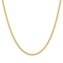 1.8mm 0.16 mils (4 microns) Gold Plated Silver Cuban Link Curb Chain Necklace, 16'-30 + Jewelry Cloth & Pouch