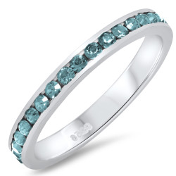 925 Sterling Silver Italian Crafted 3mm Simulated Aquamarine CZ Eternity Band + Bonus Polishing Cloth