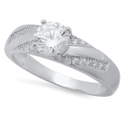Round CZ Solitaire Sterling Silver Italian Crafted 4.9mm Diagonal CZ Row Wedding Ring + Polishing Cloth