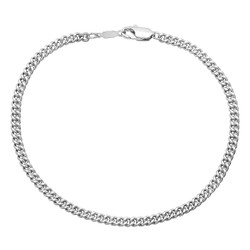 3mm 0.25 mils (6 microns) Rhodium Plated Brass Beveled Curb Curb Chain Bracelet, 7'-9 + Jewelry Cloth & Pouch