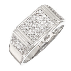 Rhodium Plated Ring Iced Out With Micro Pave Cubic Zirconia CZ Stones + Bonus Polishing Cloth