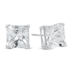 Pure 925 Sterling Silver Italian Crafted Princess Cut Square Clear CZ Stud Earrings + Polishing Cloth