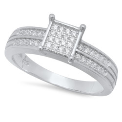 4.5mm Sterling Silver Italian Crafted CZ Pave Square w/Double CZ Inlay Wedding Ring + Polishing Cloth