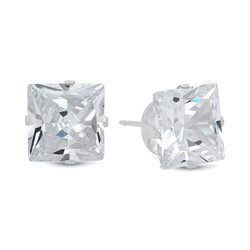Princess Cut Clear Simulated Diamond CZ Sterling Silver Italian Crafted Stud Earrings + Polishing Cloth