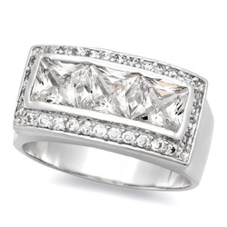 Rhodium Plated Classic Ring With CZ Stones + Microfiber