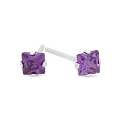 Square Cut Simulated Purple Amethyst CZ Sterling Silver Italian Crafted Stud Earrings + Polishing Cloth