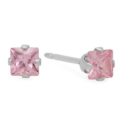 Square Cut Simulated Pink Tourmaline CZ Sterling Silver Italian Crafted Stud Earrings + Polishing Cloth