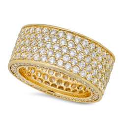 Hip Hop 14k Gold Plated Iced Out Micropave CZ 13mm Eternity Band Ring + Microfiber
