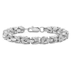 8mm Diamond-Cut 0.25 mils (6 microns) Rhodium Plated Puffed Puffed Byzantine Chain Link Bracelet