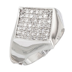 Rhodium Plated Micro Pave Iced Out Hip Hop CZ Ring + Microfiber