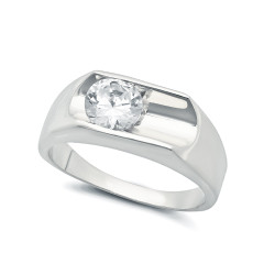 Classic Deep Bezel Set Rhodium Plated CZ Solitaire Ring + Microfiber