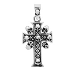 Highly Polished .925 Sterling Silver 27mm Skull & Flared Cross Pendant