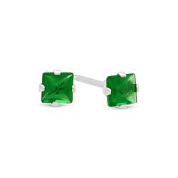 Princess Cut Simulated Emerald Green CZ Sterling Silver Italian Crafted Stud Earrings + Polishing Cloth