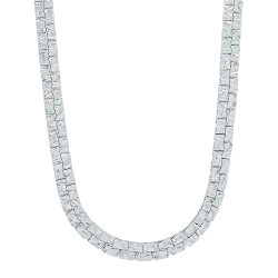 5.7mm Rhodium Plated Flat Nugget Chain Necklace