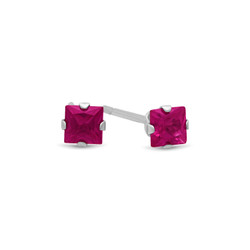 Square Simulated Rubellite Tourmaline CZ Sterling Silver Italian Crafted Stud Earrings + Polishing Cloth