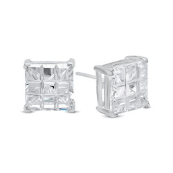 Square Cut Clear Simulated Diamond CZ Sterling Silver Italian Crafted Stud Earrings + Polishing Cloth