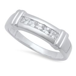 925 Sterling Silver Italian Crafted Channel Set Square Cut CZ 5.4mm Wedding Band + Bonus Polishing Cloth
