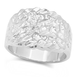 Rhodium Plated Chunky Nugget Pinky Ring, Size 7-15