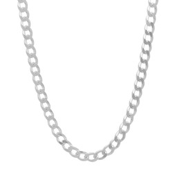 5.2mm High-Polished .925 Sterling Silver (Nickel Free) Flat Beveled Curb Chain Necklace, 7'-30 + Jewelry Cloth & Pouch