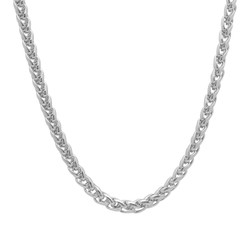 5mm Rhodium Plated Braided Wheat Chain Necklace