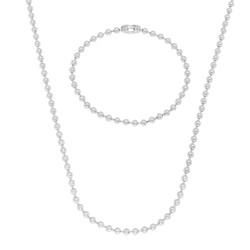 3.3mm 14k Yellow Gold Plated Round Ball Chain Necklace + Bracelet Set