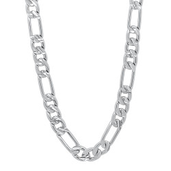 5.8mm Diamond-Cut Rhodium Plated Flat Figaro Chain Necklace