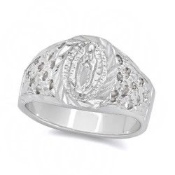 Rhodium Plated Virgin Mary Ring + Microfiber