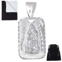 Men's Diamond-Cut Rhodium Plated Guadalupe (Virgin Mary) Pendant, 34mm x 21mm (⅓ inches' x ⅘ inches')