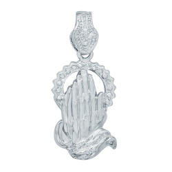 Large 24mm x 41mm Rhodium Plated Praying Hands With Halo Pendant + Microfiber