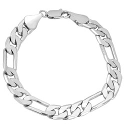9.5mm Rhodium Plated Flat Figaro Chain Bracelet