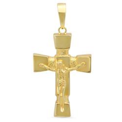 14k Yellow Gold Plated Large Hollow 3D Cross Crucifix Pendant Charm + Microfiber