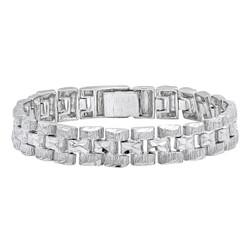 Thick 12.5mm Rhodium Plated Diamond-Cut 3-Row Panther Link Bracelet + Microfiber