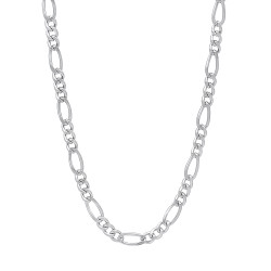 3.7mm Rhodium Plated Flat Figaro Chain Necklace