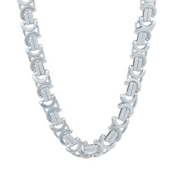 9mm Rhodium Plated Flat Byzantine Chain Necklace