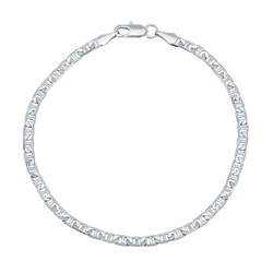 3.2mm Rhodium Plated Flat Mariner Chain Bracelet