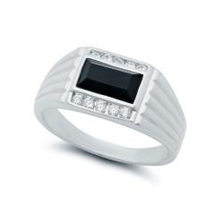 Black Baguette Heavy Rhodium Plated Classic Ring Cubic Zirconia + Microfiber