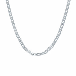 3.2mm Rhodium Plated Flat Mariner Chain Necklace