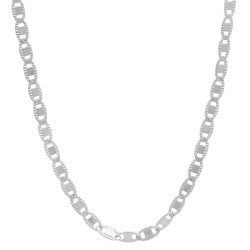 2.6mm Rhodium Plated Flat Mariner Chain Necklace