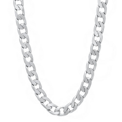6mm High-Polished 0.16 mils (4 microns) Rhodium Plated Flat Cuban Link Curb Chain Necklace