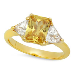 Gold Plated Emerald-Cut Golden Yellow CZ Three-Stone Ring + Microfiber