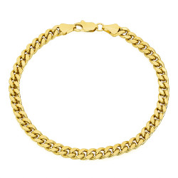 5mm 14k Yellow Gold Plated Beveled Curb Chain Bracelet