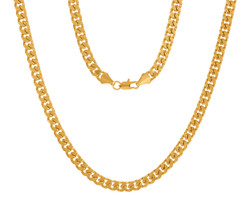 5mm High-Polished 0.25 mils (6 microns) 14k Yellow Gold Plated Flat Beveled Curb Chain Necklace