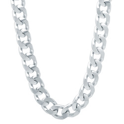 7.5mm Rhodium Plated Beveled Curb Chain Necklace