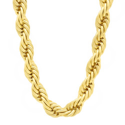 8mm 14k Yellow Gold Plated Twisted Rope Chain Necklace