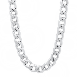 7mm Polished Rhodium Plated Flat Cuban Link Curb Chain Necklace