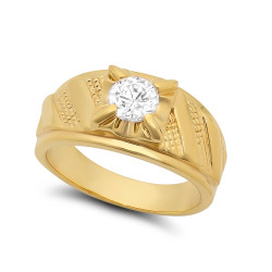 10mm 14k Gold Plated Textured-Tie Band w/Round Clear CZ Solitaire Ring + Microfiber